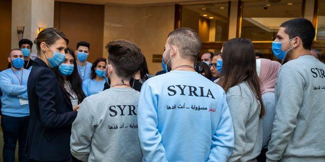 הגברת אסמאא אל-אסד פוגשת את המשתתפים באולימפיאדה המדעית 2021