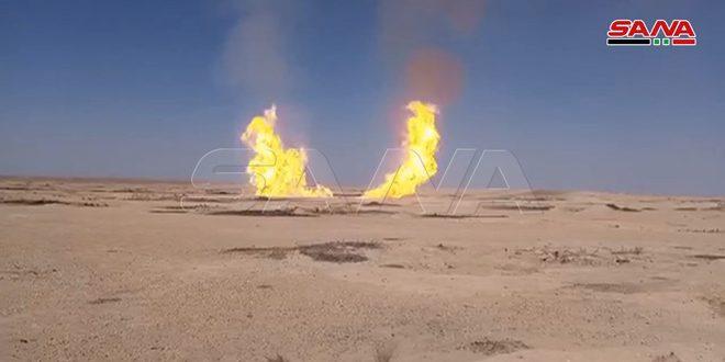 משרד הנפט : צינור הגז אל-ג'בסה- אל-ריאן הותקף באזור אבו-ח'שב בריף דיר א-זור