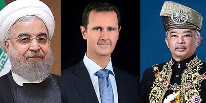 הנשיא אל-אסד מקבל שני מברקי ברכה מאת הנשיא האיראני והמלך המלזי לרגל חג העצמאות