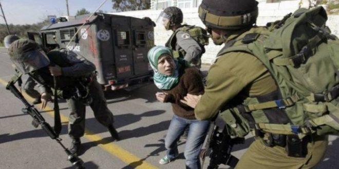 עצירת צעירה פלסטינית בצפון אל-קודס הכבושה