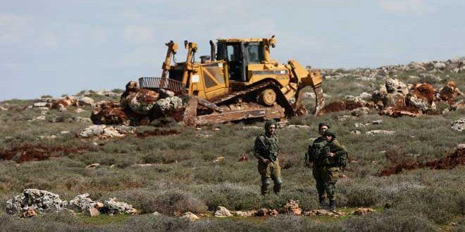 כוחות ישראליים גרפו אדמות של פלסטינים בדרום שכם
