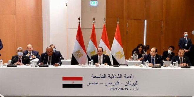 א-סיסי: יש תמימות דיעים בעמדותיהן של מצרים יוון וקפרסין בקשר לדביקות באחדות שטחי סוריה