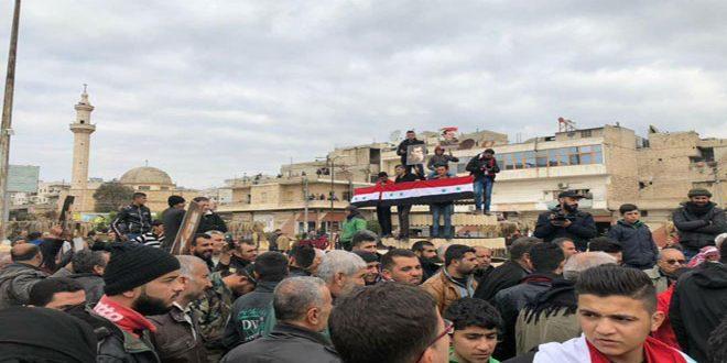 Жители Африна приветствуют прибывшие отряды народных сил