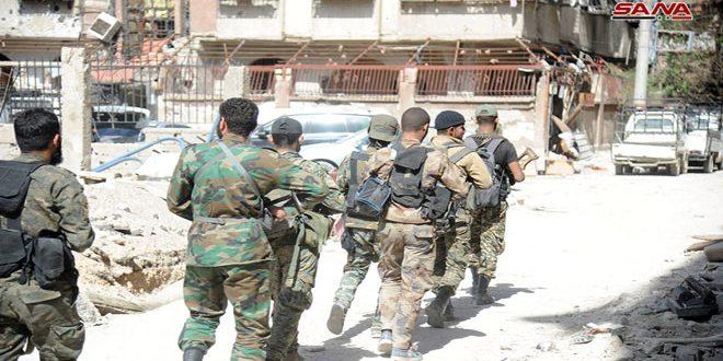 Сирийская армия продолжает операции против террористов в Хаджаре Аль-Асваде на юге Дамаска