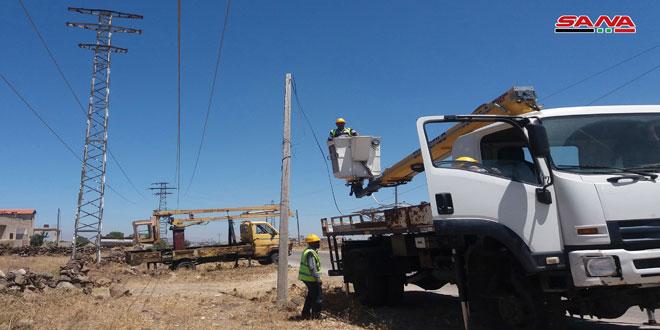 В провинции Кунейтра идет восстановление системы электроснабжения