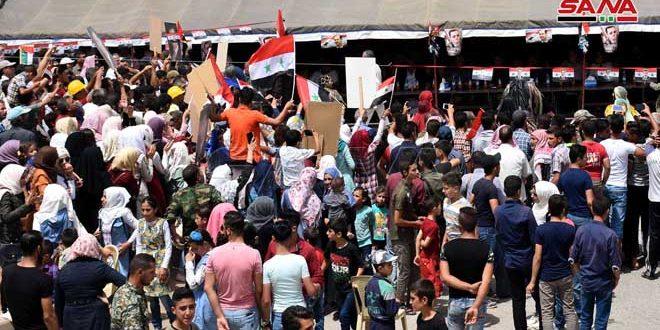 В городе Ар-Растан провинции Хомс прошел массовый митинг по случаю первой годовщины освобождения от терроризма
