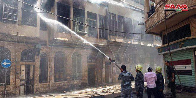 В Дамаске в районе Аль-Хальбуни в старом арабском доме вспыхнул пожар
