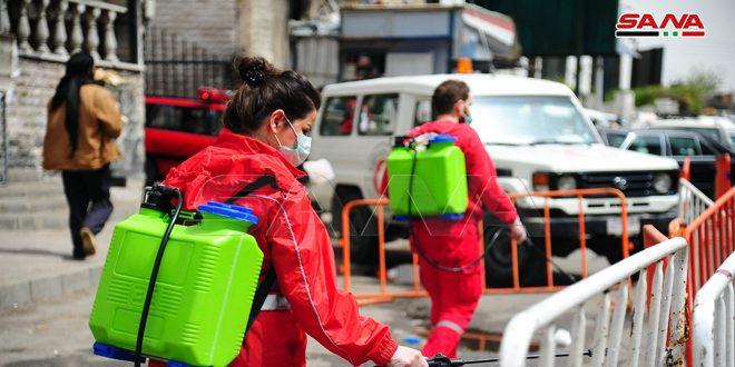 Сирийское общество Красного Полумесяца провело кампанию по дезинфекции в ряде районов Дамаска