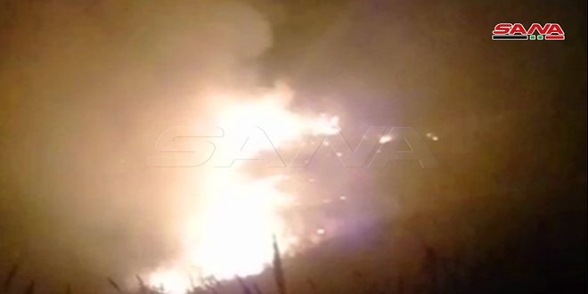 Пожарные части Дараа потушила крупный пожар в районе Вади Ас-Сафукия