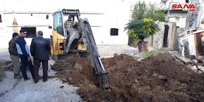 В пострадавшем от террористов поселке Аз-Зара провинции Хомс продолжаются восстановительные работы