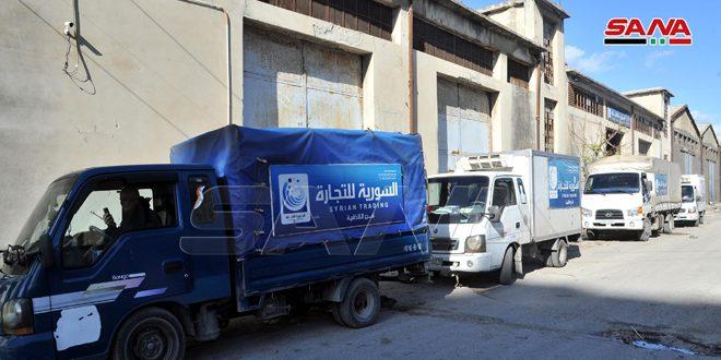 В район Ар-Рмейля в Джебла доставлено 10 грузовиков с рисом и сахаром, отпускаемых по электронной карте