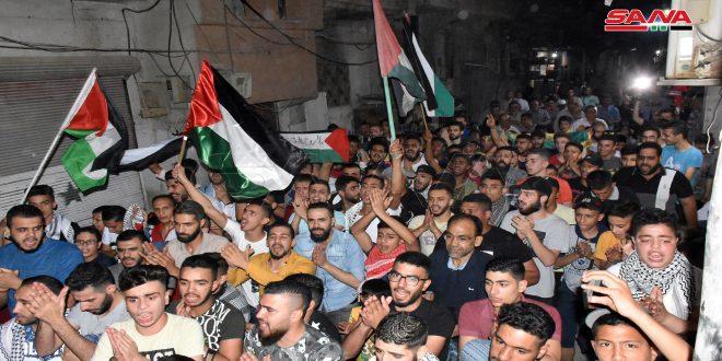 В Хаме в лагере беженцев «Аль-Аидин» прошел митинг в поддержку палестинцев