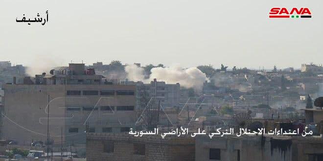 Турецкие оккупанты обстреляли из артиллерии окрестности Тель-Абьяда и Айн-Исы в провинции Ракка