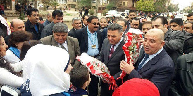 Bakanlar kurulu ve Baas Partisi merkez kurulundan bir heyet Haseke'de hizmet durumlarını inceliyor
