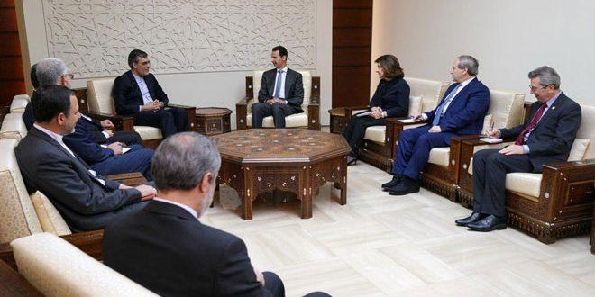 Cumhurbaşkanı Beşşar el Esad bugün İran Dışişleri Bakanı Birinci Yardımcısı Hüseyin Cabiri Ansari ve Suriye'ye iş ziyaretinde ona eşlik eden heyeti kabul ediyor