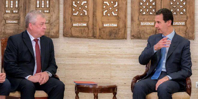 Cumhurbaşkanı el Esad Rusya Başkanı Vladimir Putin'in Suriye Özel Temsilcisi Alexander Lavrantyev ve ona eşlik eden heyeti kabul ediyor