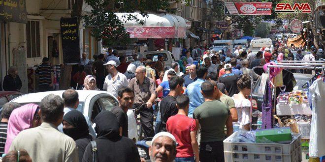 Homs'ta Bayram Öncesi Çarşılarda Yoğun Hareketlilik