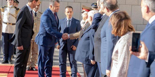 Cumhurbaşkanı el Esad Suriye'ye 3 günlük iş gezisinde bulunan Güney Osetya Cumhurbaşkanı Anatoly Bibilov'u kabul ediyor