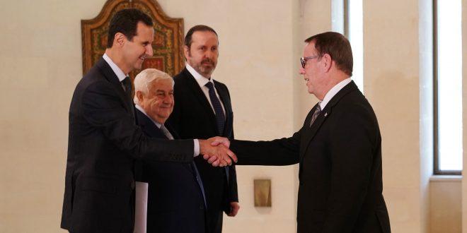 Cumhurbaşkanı Esad Çin ve Küba Büyükelçilerinin Güven Mektuplarını Kabul ediyor
