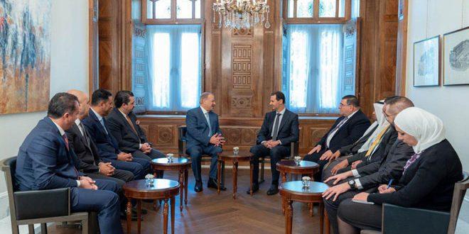 Cumhurbaşkanı el Esad Ürdünlü parlamenter heyeti kabul ediyor