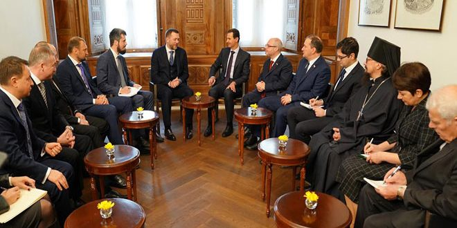 Cumhurbaşkanı el Esad Rusya Birlik Partisinden bir heyeti kabul ediyor