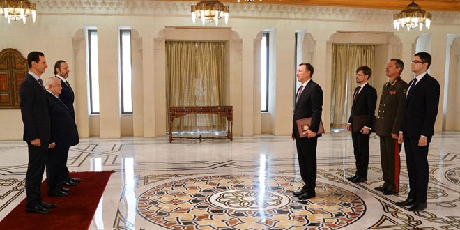 Cumhurbaşkanı Esad Rusya ve Belarus Büyükelçilerinin Güven Mektuplarını Kabul Etti