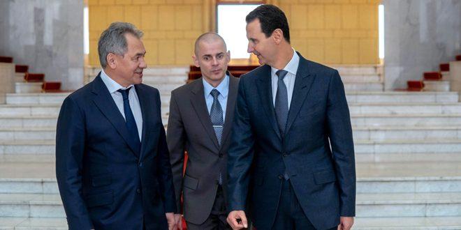Cumhurbaşkanı el Esad Rusya Savunma Bakanını Sergei Şoygo'yu kabul ediyor