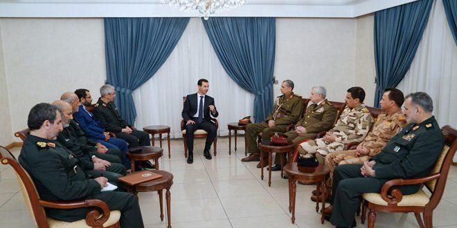 Cumhurbaşkanı el Esad İran Genelkurmay Başkanı Bakiri ve Irak Genelkurmay Başkanı Ganimi'yi kabul ediyor.