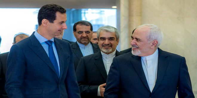 Cumhurbaşkanı el Esad İran Dışişleri Bakanı Cevat Zarif ve ona eşlik eden heyeti kabul etti