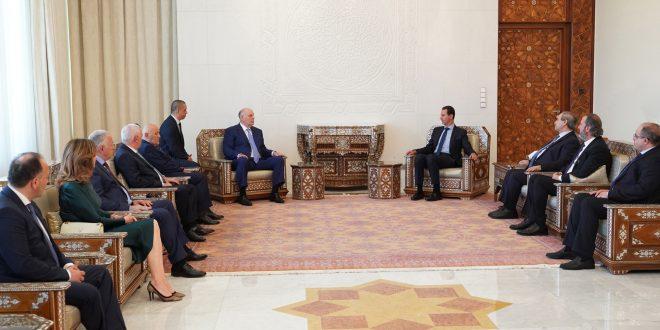 Cumhurbaşkanı Beşşar el Essad, Abhazya Cumhurbaşkanı Aslan Bjanya'yı kabul ediyor