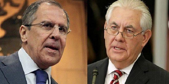 لافروف وتيلرسون يبحثان عملية التسوية السياسية للأزمة في سورية