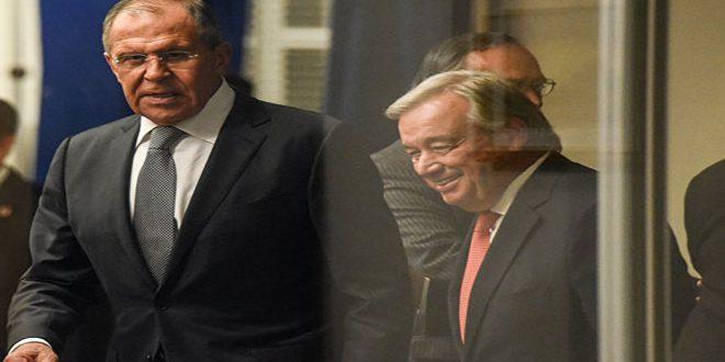 لافروف وغوتيريس يجددان التأكيد على الحل السياسي للأزمة في سورية