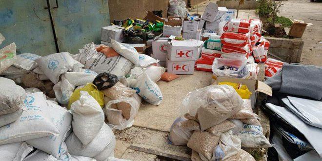 ضبط مستودع يحوي كميات من المواد الإغاثية في حي الغوطة بحمص
