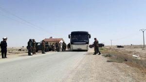 تجهيز حافلات لإخراج إرهابيي (جيش الإسلام) وعائلاتهم من بلدة الضمير إلى جرابلس بعد تسليم أسلحتهم