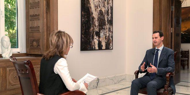 Image result for الرئيس الأسد في مقابلة مع صحيفة ميل أون صنداي البريطانية