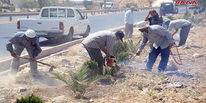 استمرار أعمال تأهيل طريق المطار استعدادا لافتتاح معرض دمشق الدولي
