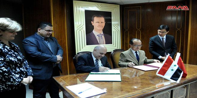 توقيع رسائل متبادلة خاصة بالمنح المقدمة من الصين إلى سورية بقيمة 20 مليون دولار