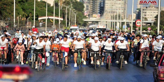 بمشاركة 200 متسابق.. مسير السلام من أجل سورية للدراجات الهوائية يجوب شوارع دمشق
