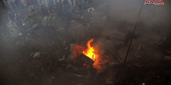 إخماد حريق نشب في مستودع مهجور في منطقة الدويلعة بدمشق- فيديو