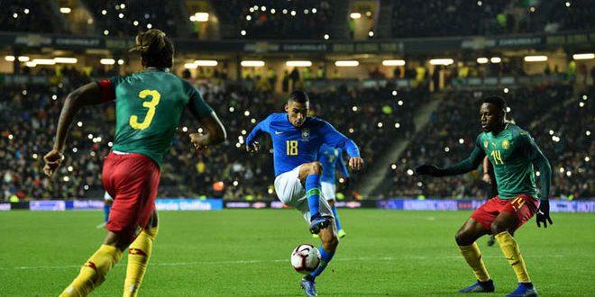 فوز البرازيل ودياً على الكاميرن بكرة القدم