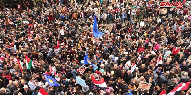 وقفات احتجاجية في المحافظات السورية تنديداً بقرار ترامب حول الجولان المحتل