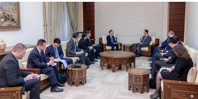 الرئيس الأسد لمساعد وزير الخارجية الصيني: الحرب على الإرهاب في سورية جزء من حرب واسعة على الساحة الدولية