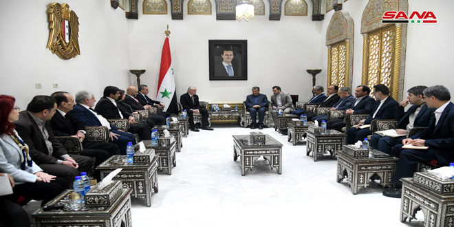 أنزور لوفد مجموعة الصداقة البرلمانية الإيرانية الفلسطينية: دور إيران مهم في دعم سورية