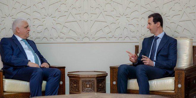 الرئيس  الأسد لـ الفياض: ما تشهده الساحتان الإقليمية والدولية يحتم على سورية  والعراق المضي قدماً بكل ما من شأنه صون سيادتهما واستقلالية قرارهما