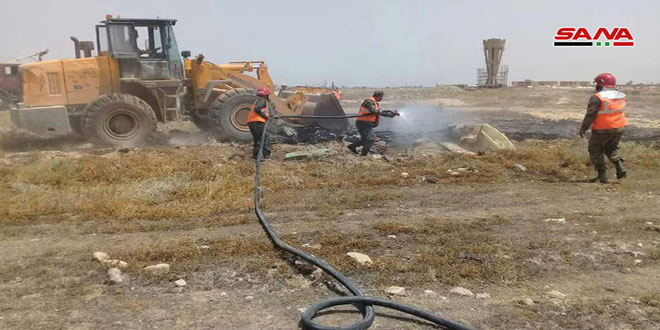 بيان عملي لإخماد الحرائق في الحقول الزراعية بدير الزور