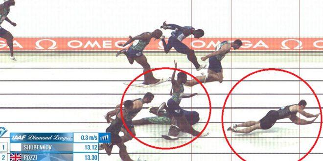 الروسي شوبينكوف يحرز ذهبية سباق 110م حواجز رغم إعاقته وسقوطه قبل خط النهاية