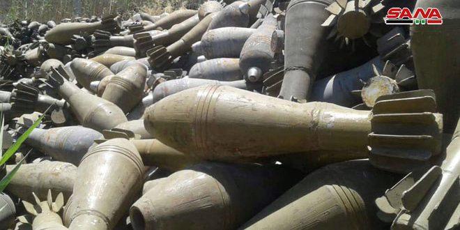 قذائف ومواد شديدة الانفجار من مخلفات إرهابيي (داعش) بريفي دير الزور والرقة