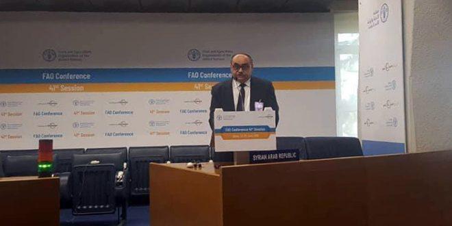 القادري أمام مؤتمر فاو: الإرهاب في سورية أعاق تطوير الزراعة