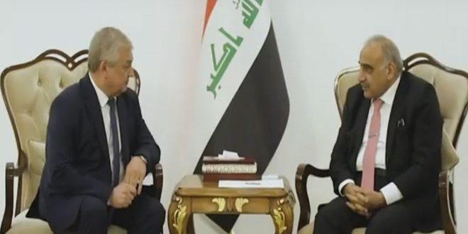 عبد المهدي يبحث مع لافرينتييف تطورات الأوضاع في سورية