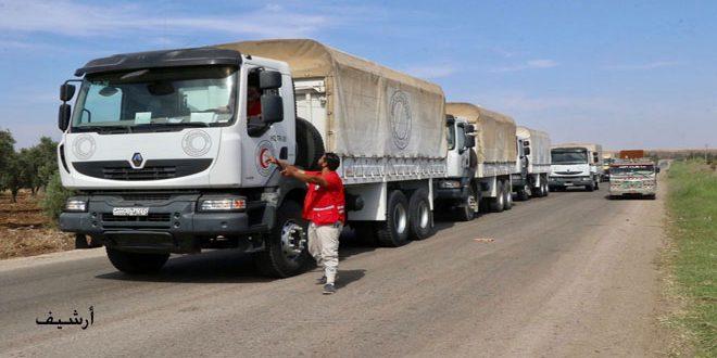 الهلال الأحمر يوصل 3 آلاف سلة غذائية للأهالي في بلدة محجة بريف درعا